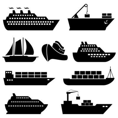 Naklejka Statki, łodzie, przewóz ładunków, logistyka i ikony wysyłki