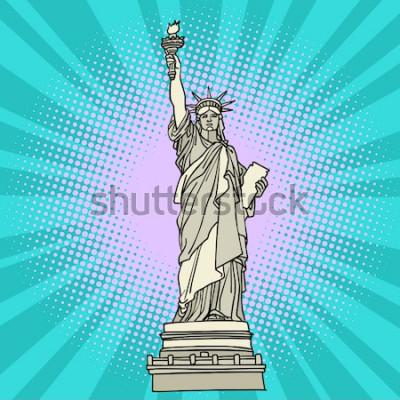 Naklejka Statua Wolności. Ameryka Nowy Jork. Komiks kreskówka pop-artu retro wektor ilustracja rysunek
