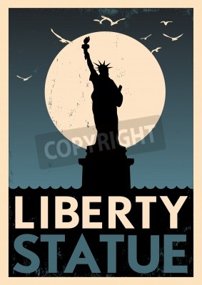 Naklejka Statua Wolności plakat vintage