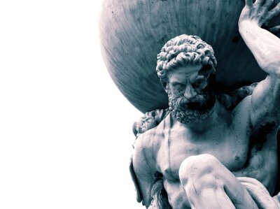 Naklejka Statue of the Greek God Atlas holding the globe on his shoulders.  With colour toning
