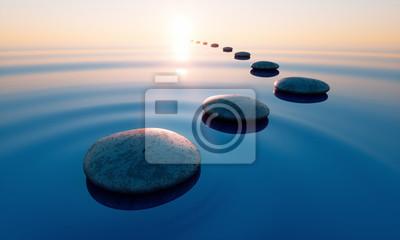 Naklejka Steine im See bei Sonnenuntergang