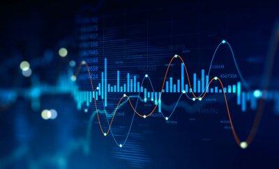 Naklejka Stock market and trading, digital graph