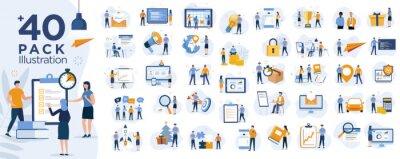 Naklejka Stock market, finance, capital investment ,marketing concept Illustration set. Scenes with people trading on the stock exchange. Vector illustration
