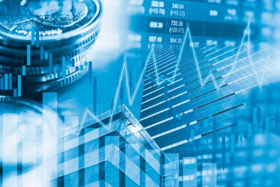 Naklejka Stock market investment trading financial, coin and graph chart or Forex for analyze profit finance business trend data background.