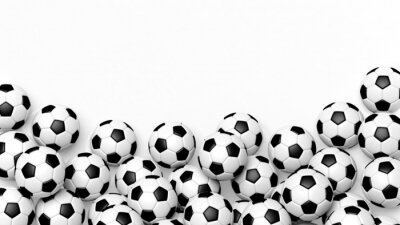 Naklejka Stos klasycznych piłki nożnej na białym z kopiowaniem miejsca