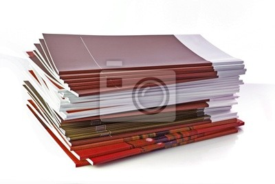 Naklejka Stos kolorowych magazynów na białym tle