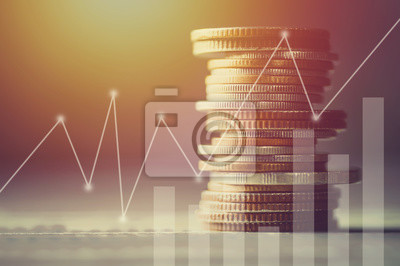 Naklejka Stos pieniędzy moneta z księgi rachunkowe finansów i koncepcji bankowych dla background.concept w rosnąć i chodzić krok po kroku dla sukcesu w biznesie