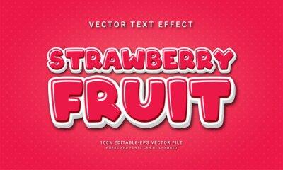 Naklejka Strawberry fruit editable text effect with fresh fruit theme