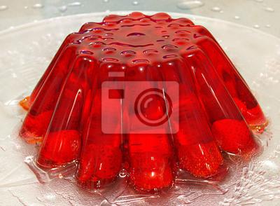Strawberry jelly budyń