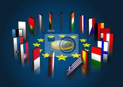 Strefa euro kippt - Dominoeffekt - Euro liegend