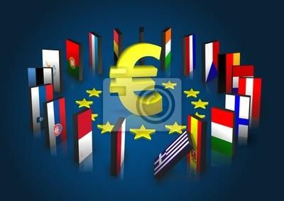 Strefa euro kippt - Dominoeffekt - Eurosymbol