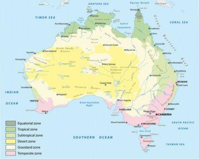 Naklejka strefy klimatyczne Mapa Australii