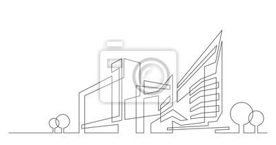 Naklejka streszczenie architektura panoramę miasta z drzewami - grafika wektorowa jednej linii na białym tle