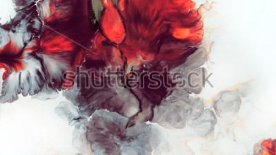 Naklejka Streszczenie czerwone tło. Komórki makr. Czerwony kwiat. Farby akrylowe. Marmurowa tekstura. Sztuka współczesna.