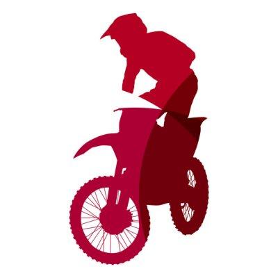 Naklejka Streszczenie czerwonym rider motocross geometryczne sylwetka