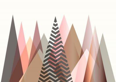 Naklejka Streszczenie górski krajobraz w stylu skandynawskim