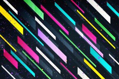 Naklejka streszczenie kolorowe paski na czarnym tle. wektor geometryczne, żywe tapety szablon. fajne tło wzór. jasne ramy, układ wizytówki wektor