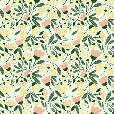 Naklejka Streszczenie kwiaty bez szwu deseń. Kolorowe tło wektor