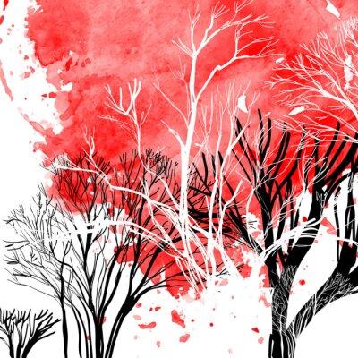 Naklejka Streszczenie sylwetka drzew