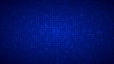 Naklejka Streszczenie tle małych kwadratów lub pikseli o różnych rozmiarach w kolorach niebieskim.