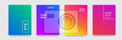 Naklejka Streszczenie tło wzór geometryczny z linii tekstury dla projektu okładki broszury firmy. Gradientu różowy, pomarańczowy, fioletowy, niebieski i zielony transparent wektor szablon plakatu