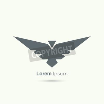 Naklejka Streszczenie Vector Logo Szablon Lecącego Ptaka Z