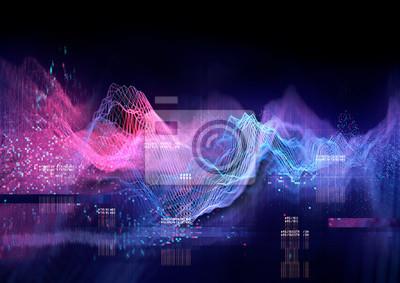 Naklejka Streszczenie Wizualizacja danych i technologii w formie wykresu. 3D ilustracja