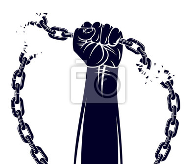 Naklejka Strong hand clenched fist fighting for freedom against chain slavery theme illustration, vector logo or tattoo, getting free, struggle for liberty.