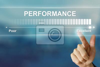 Naklejka strony biznesu klikając doskonałą wydajność na wirtualnym ekranie