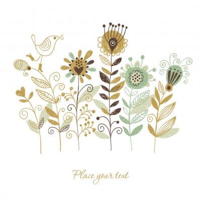 Naklejka Strony rysunku, kwiatów ilustracji, Greeting Card