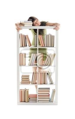 studentka z książek, białe tło