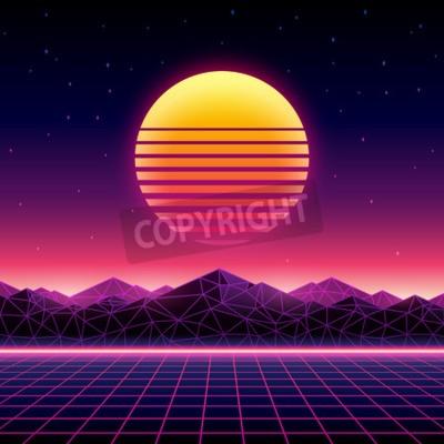 Naklejka Styl retro futurystyczny tło 1980 roku. Cyfrowy krajobraz w cyber świecie. Szablon okładki albumu muzycznego w wersji elektronicznej ze słońcem, przestrzenią, górami i siatką laserową w terenie.