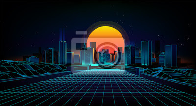 Naklejka Styl retro tło krajobraz lat 80. Retro 80s Sci-Fi tła miasta Krajobraz. Futurystycznego tła retro fala.