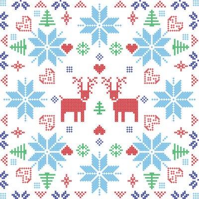 Naklejka Styl skandynawski Nordic zimą Stich, dziania szwu w kształcie kwadratu, w tym płatki śniegu, drzew, Boże Narodzenie płatki śniegu, sercami, renifery i elementami dekoracyjnymi w kolorze czerwonym i ni