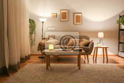 Naklejka Stylish interior of living room at night