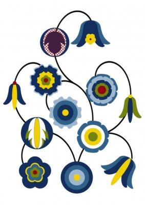 Naklejka Stylizowane kwiaty Kaszubski