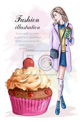 Naklejka Stylowa kobieta z filiżanką kawy i big smaczne ciasto. Naszkicować. Ilustracji wektorowych.