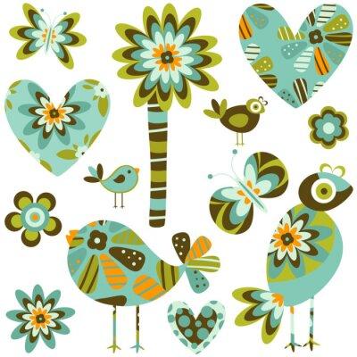 Naklejka stylu retro elementy: kwiaty, motyle, ptaki