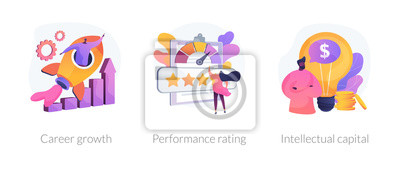 Naklejka Success achievement icons set. Business promotion, user feedback, professional skills. Career growth, performance rating, intellectual capital metaphors. Vector isolated concept metaphor illustrations