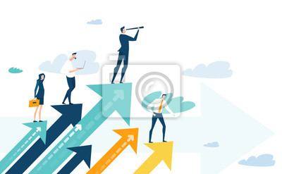 Naklejka Successful businessman standing on the arrow, which pointing up as symbol of achievement, success and developing business in successful way. Businessman looking forward with the telescope.