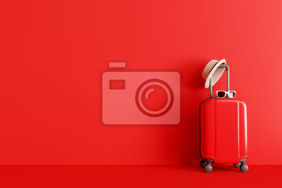 Naklejka Suitcase with hat and sunglasses on red background. travel concept. minimal style. 3d rendering