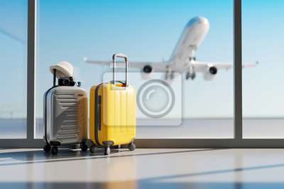 Naklejka Suitcases in airport. Travel concept. 3d rendering