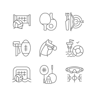 Naklejka Summer camp activities linear icons set. Beach volleyball. Ping pong. Archery. Horseback riding. Customizable thin line contour symbols. Isolated vector outline illustrations. Editable stroke