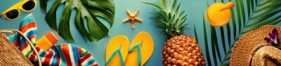 Naklejka Summer concept with pineapple and essentials of traveler, vocation background with beach items