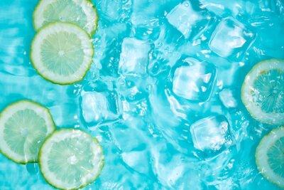 Naklejka Summer cool lemon cold drink poster background