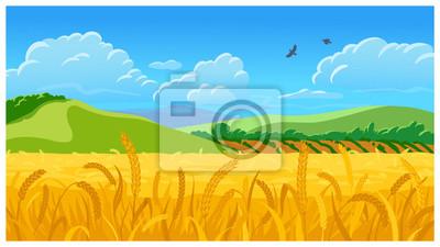 Naklejka Summer field vector illustration