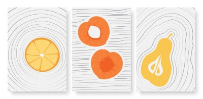 Naklejka Summer fruits, abstract minimal outline wall art vector illustration set. Trendy hand drawn simple lines, whole fruit, half and slices of peach pear orange, social media stories and post template