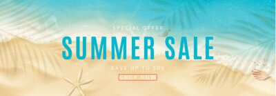 Naklejka Summer sale horizontal banner. Top view on sea beach with soft waves. Vector illustration with plant's shadows. Beautiful background with seashells on sea sand. Seasonal discount offer.