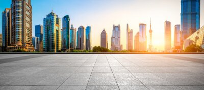 Naklejka Sunset empty square road and city skyline in Shanghai