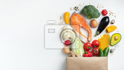 Naklejka Supermarket. Paper bag full of healthy food.